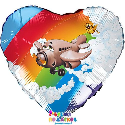 Воздушный шар (46 см) Сердце, Самолет