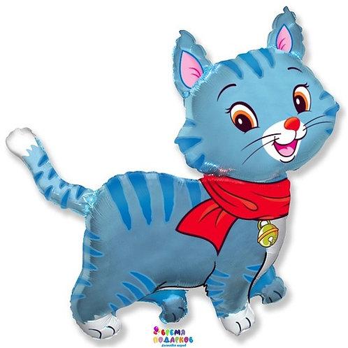 Фольгированный шар (81 см) Фигура, Любимый котенок, Синий