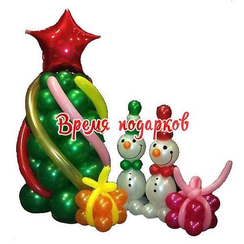 Елка + подарки + снеговики