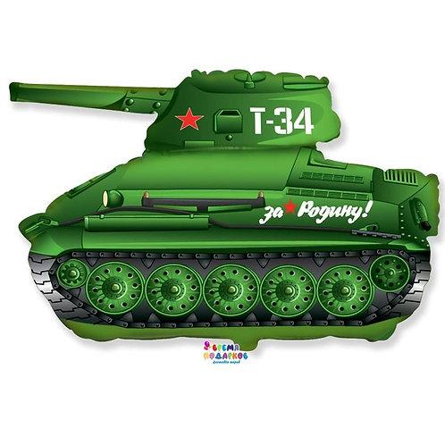 Шар (79 см) Фигура, Танк Т-34, Зеленый