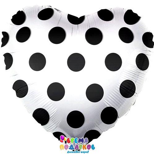 Шар (18''/46 см) Сердце, Черные точки, Белый, 1 шт.