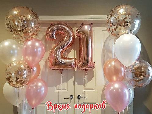 Композиция с гелиевыми шарами (любые цифры) №236