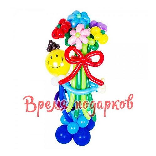 Смайлик с цветочками и цифрой (любой)