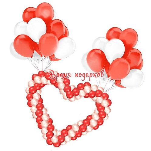 Сердце из шаров + гелиевые шары