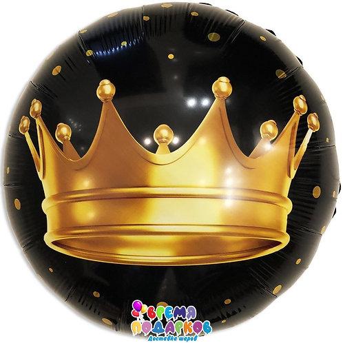 Шар (46 см) Круг, Золотая корона, Черный