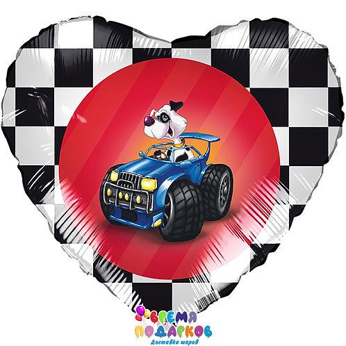 Воздушный шар (46 см) Сердце, Собака в джипе