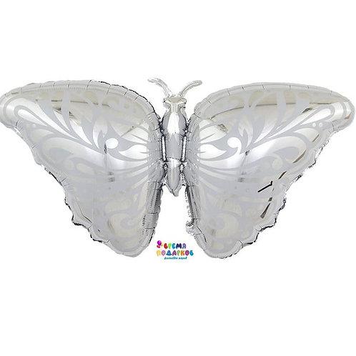 Шар (104 см) Фигура, Бабочка, Серебро