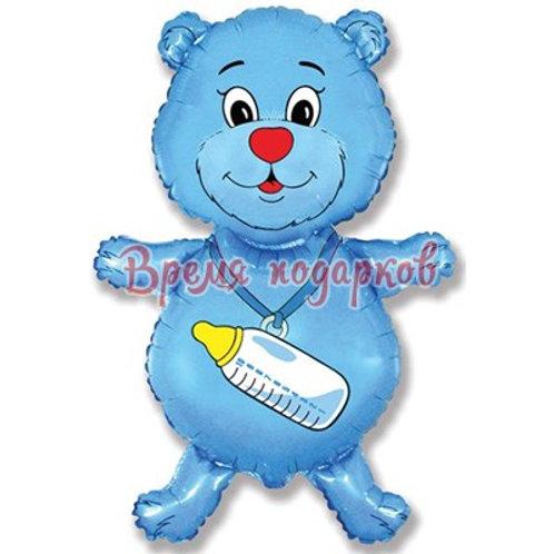 Фигурный шарик из фольги мишка синий