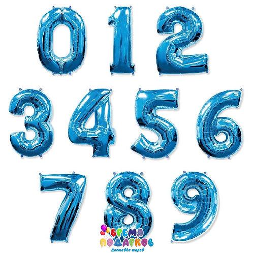 Цифра фольгированная с гелием (синяя)