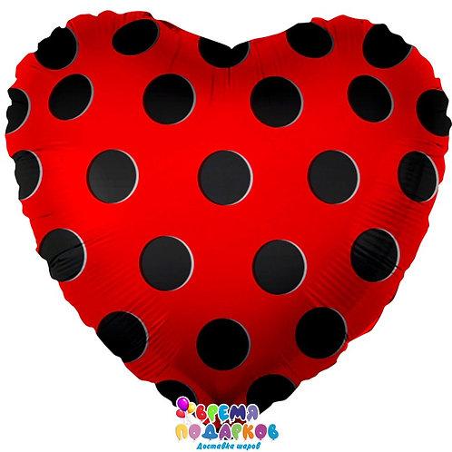 Шар (18''/46 см) Сердце, Черные точки, Красный, 1 шт.