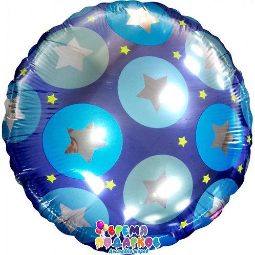 круг со звездами голубой