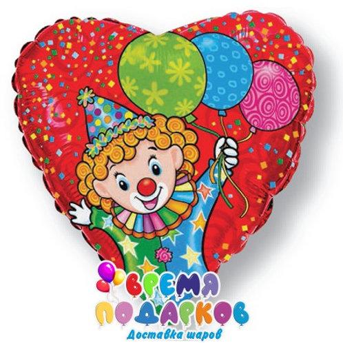 Шар (46 см) Сердце, Счастливый клоун, Красный