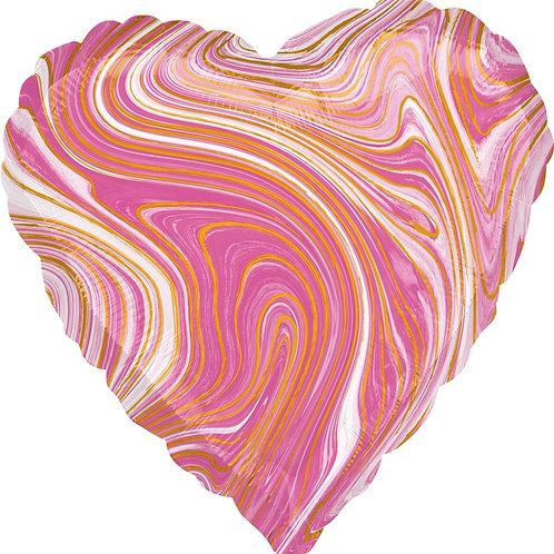 Шар (18''/46 см) Сердце, Мрамор, Золотая нить, Розовый