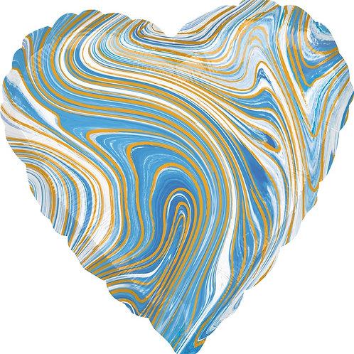 Шар (18''/46 см) Сердце, Мрамор, Золотая нить, Голубой