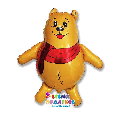 Фольгированный шар (33''/84 см) Фигура, Медвежонок с красным шарфом, Желтый, 1 ш