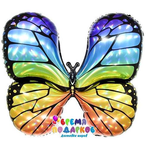 Шар (31''/79 см) Фигура, Бабочка, Яркая радуга, Голография, 1 шт.