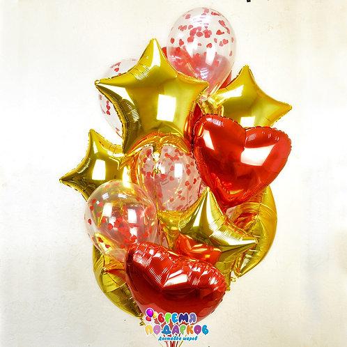 Фонтан из шаров: фольга 10шт с конфетти 5шт  Можно изменить цвет, вид и количест