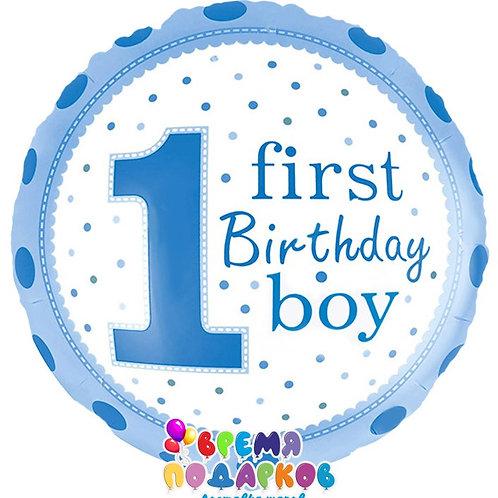 Шар (46 см) Круг, 1-й День Рождения Мальчика (точки), Голубой