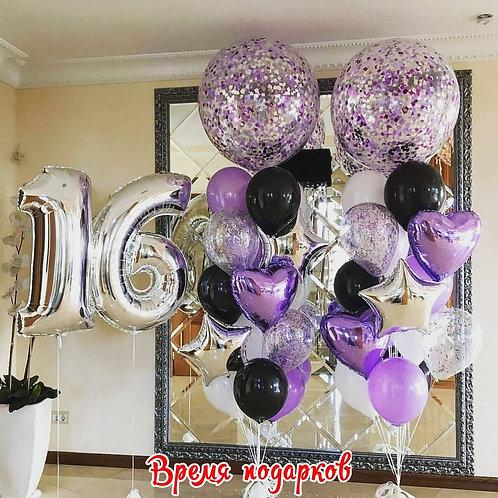 Композиция с гелиевыми шарами (любые цифры) №156