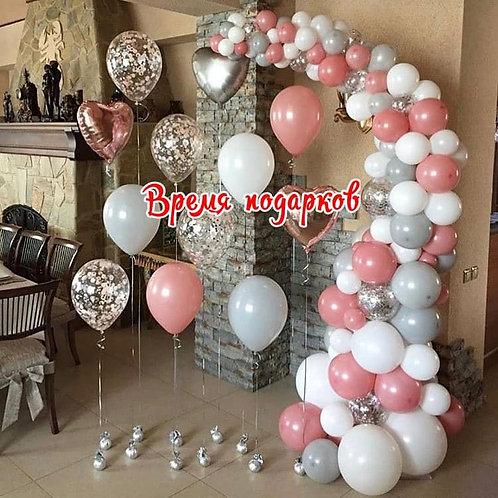 Разнокалиберная гирлянда из воздушных шаров