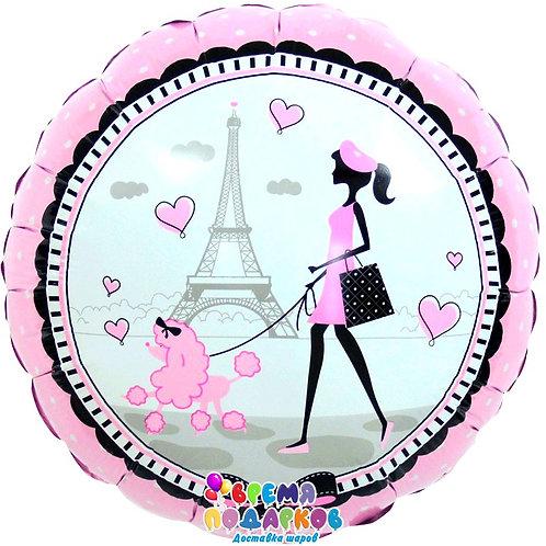 Шар (46 см) Круг, Парижанка, Розовый
