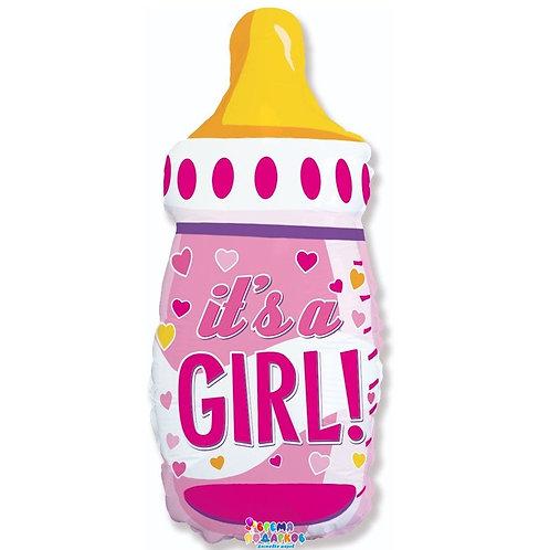 Шар (31''/79 см) Фигура, Бутылочка для девочки (сердечки), Розовый, 1 шт.