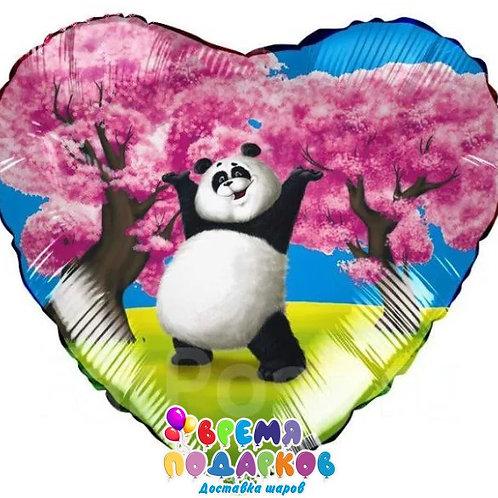 Сердце с рисунком (46 см) панда