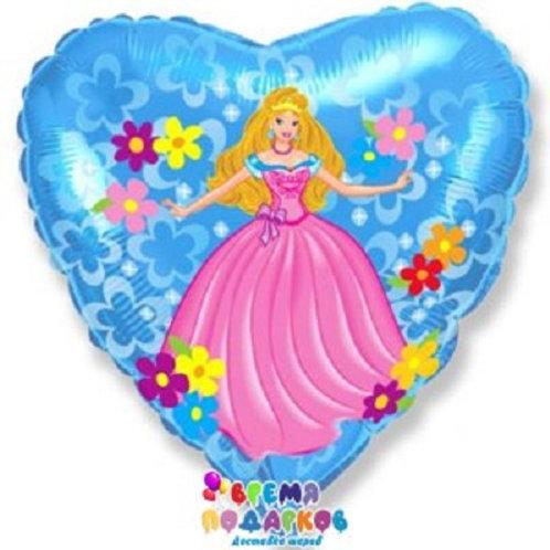 Шар (46 см) Сердце, Принцесса, Голубой