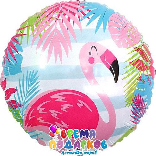 Шар (46 см) Круг, Фламинго, голубые полосы