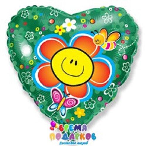 Воздушный шар (46 см) Сердце, Цветок, Зеленый