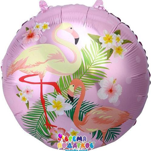 Шар (46 см) Круг, Фламинго, Розовый