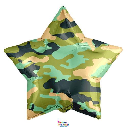 Воздушный шар (18''/46 см) Звезда, Камуфляж, Зеленый, 1 шт.