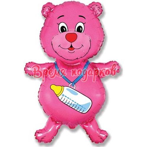 Фигурный шарик из фольги мишка розовый