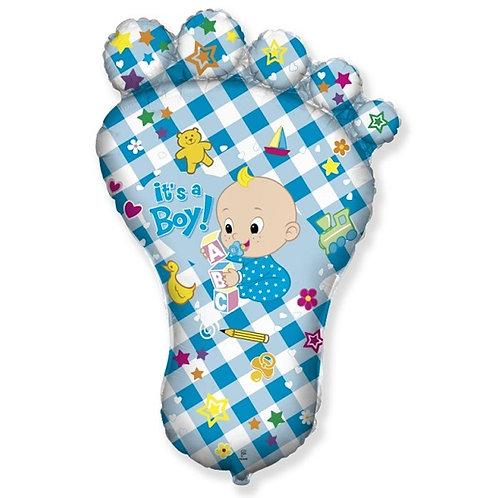 Шар (38''/97 см) Фигура, Ножка малыша, Голубой