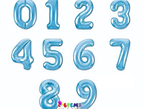 Цифра фольгированная с гелием (голубая)