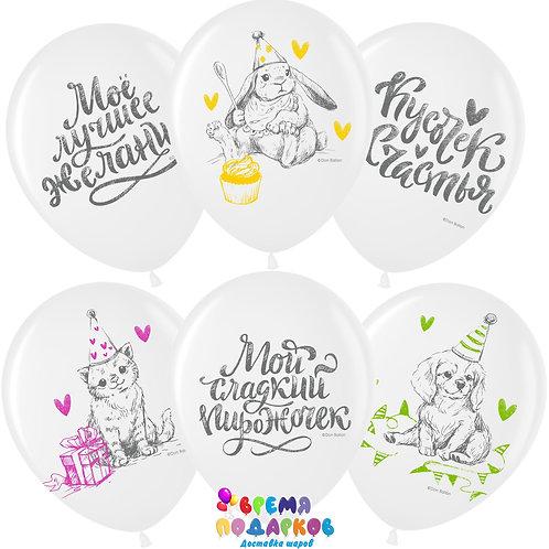Воздушный шар (12''/30 см) Кусочек Счастья, Белый (200), пастель, 2 ст