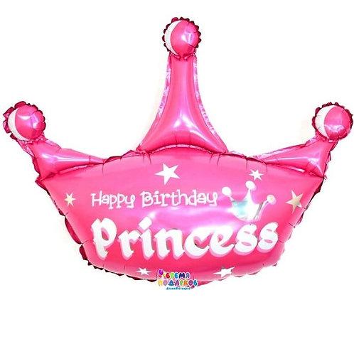 Шар (94 см) Фигура, Корона, С Днем Рождения, Принцесса, Розовый