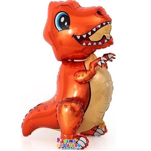 Шар (30''/76 см) Ходячая Фигура, Маленький динозавр, Оранжевый, 1 шт. в упак.
