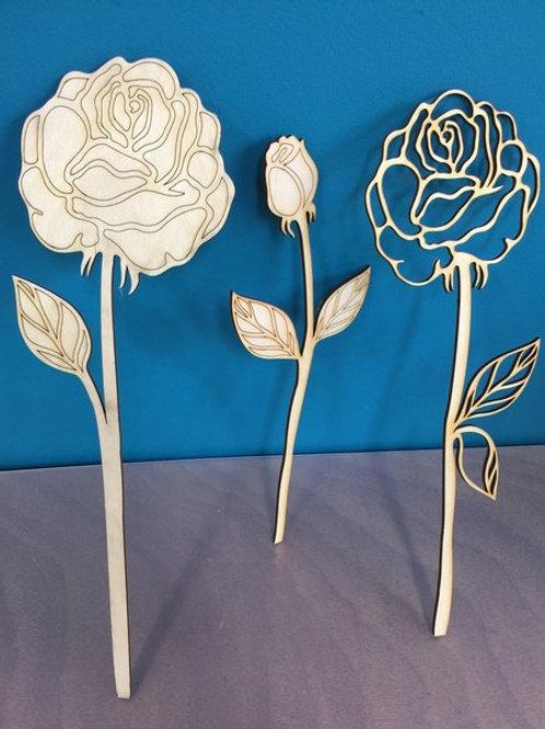 Wood flowers, set of three