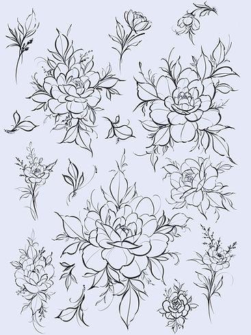 Peony Flash Tattoo Florals Flower