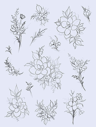 Anemone Blossoms Mums Tattoo Floral Flash