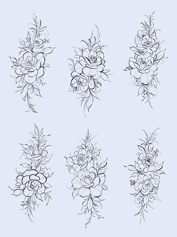 Two Peonies Double Flash Florals Tattoo