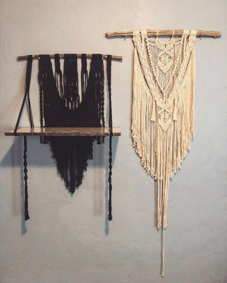 Black Macrame with Wooden Shelf and Large White Macrame
