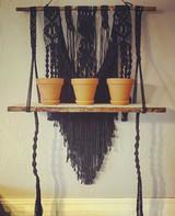 Black Macrame Shelf Detail