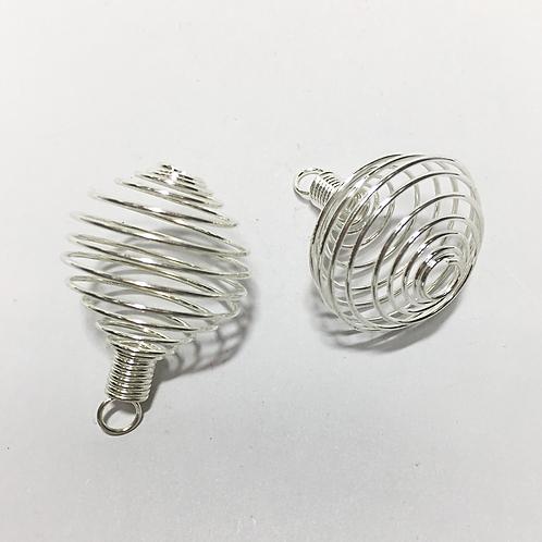 Crystal tumble stone cage pendant