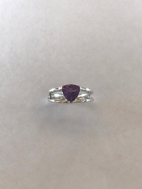 Amethyst brilliant cut ring