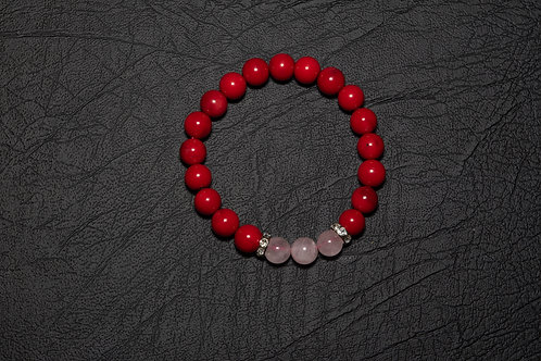 Red Coral and Rose Quartz Bracelet