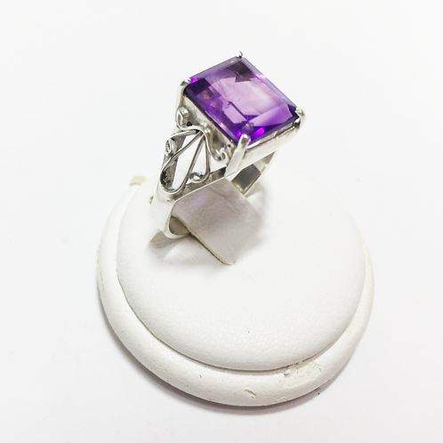 Amethyst rectangular 8x 10mm  Sterling silver ring