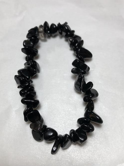 Obsidian single chip bracelet