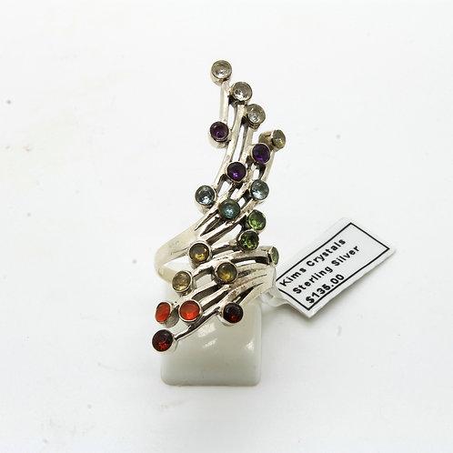 Sterling silver 20 x 3mm  gemstone Chakra ring.